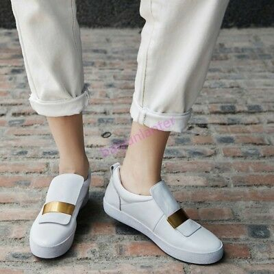 Hot Sale Womens Pull On Leather Flats Casual Board Shoes Fashion Sneakers Spring