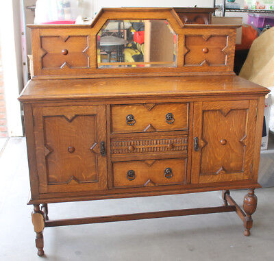 Antique 1920's English Tudor Style Sideboard Buffet with Mirror, Leg is Repaired