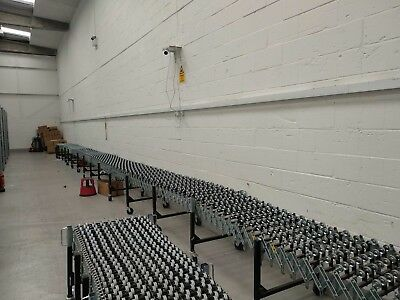 Steel Gravity Conveyer, 25 metres Long extended/7 Metres Compacted. Hardly Used.