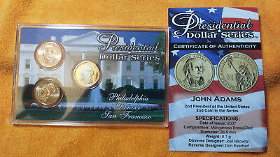 John Adams - 3 Coin Set  P D S  Uncirculated And Proof