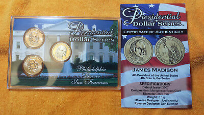 James Madison - 3 Coin Set  P D S  Uncirculated And Proof