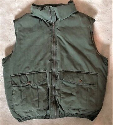 Mens Vintage Lands End Green Goose Down Puffer Vest Two Flap Snap Pockets Size L