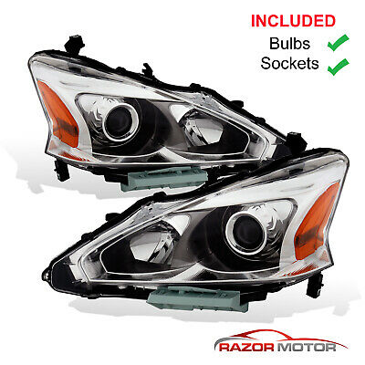 2013-2015 Replacement Halogen Headlight Pair For Nissan Altima 4dr Sedan w/Bulbs