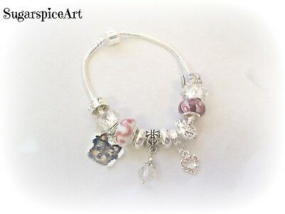 Yorkie Handpainted Silver Charm Glass Bead Bracelet by SugarspiceArt