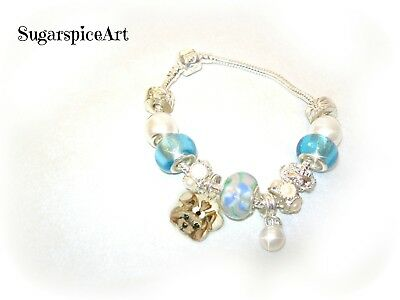 Yorkie Handpainted Silver Pearl Charm Glass Bead Bracelet by SugarspiceArt