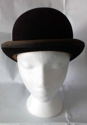 MOSS BROS Covent Garden Vintage Brown Bowler/Derby Hat - Size 7/57 (Small Adult)