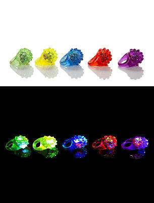 New 2-96 Fern Style Flashing LED Jelly Rings Light Up Finger Glow Bag Wholesale