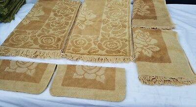 Vintage Golden Towel Sets Mid Century Sears Royal Touch Roses
