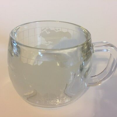Two Vintage 1970s Nestle Clear GLASS GLOBE COFFEE CUP Mug with Frosted World Map