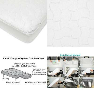 Waterproof Fitted Crib Toddler Protective Mattress Pad Cover Baby Bed Protection