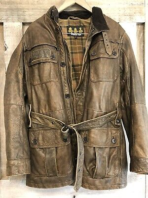 Barbour International Men's Leather Motorcycle Jacket Rare M Medium