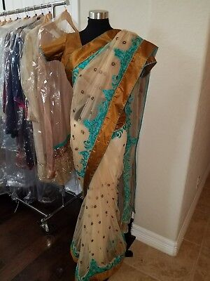 Bollywood Embroidered Beige Sari Net Party Wear Saree with Blouse