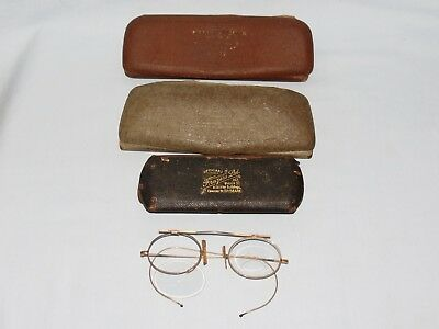 VINTAGE GLASSES SPECTACLES COLLECTORS LOT PINCE NEZ to fix and 3 CASES