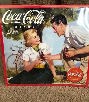 Coca Cola Brand Wall Calendar 16 Sixteen-Month Soda Bottles 2004 NEW SEALED!!
