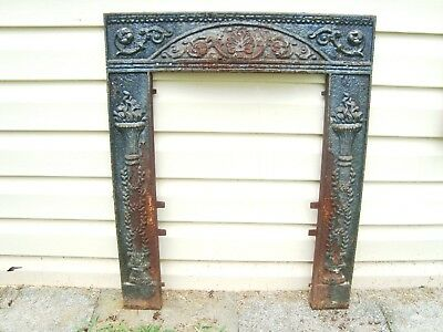"""Vintage antique cast iron fireplace surround frame 25"""" wide 30"""" tall"""