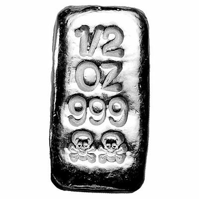 1/2~Oz ~ Pure .999 Silver ~ Skull & Cross ~ Poured Loaf Bar ~ $16.88 ~Buy It Now