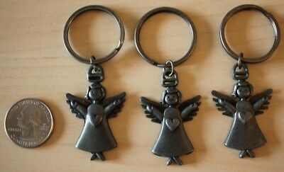 Lot of 3 Loving Guardian Angels Metal Religious Keychains Key Rings #30641