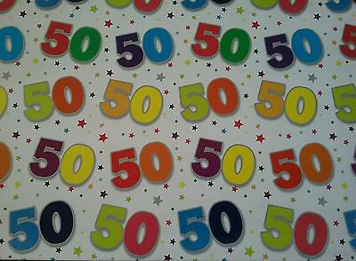 50TH BIRTHDAY GIFT Wrapping Paper And Tag Good Quality Glossy Brand New