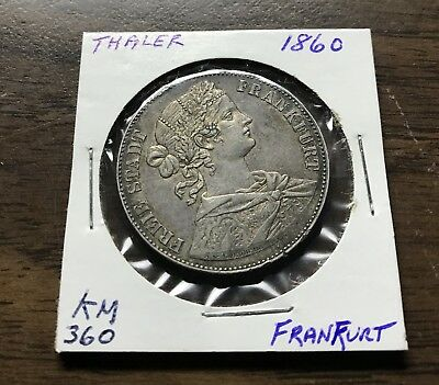 GERMAN STATES FRANKFURT THALER 1860 Km 360 NICE SILVER COIN! NO RESERVE AUCTION