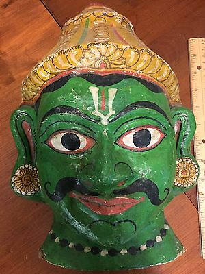 Vintage Paper Mache Mask Hindu Indian Siamese Thai Bali Man