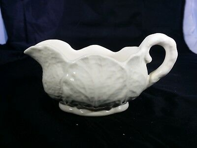 Shorter & Son England White Country Ware Coffee Creamer Cabbage Lettuce Leaf