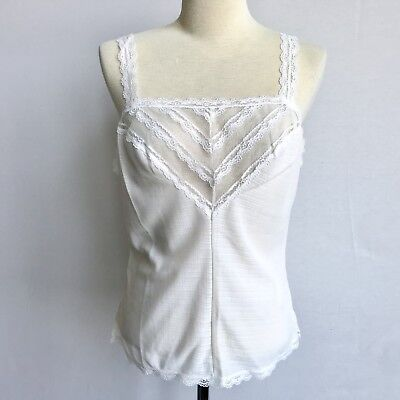 Vintage White Nylon Lace Trim Camisole Woven Size Small