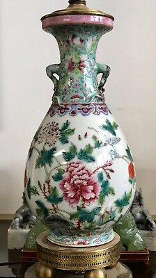 Antique Vintage CHINESE Famille Rose Porcelain VASE Lamp Flowers PRUNIS Branches