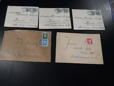 Lot of 5 Early Germany Covers each with Advertising Stamps Affixed to Back Flap