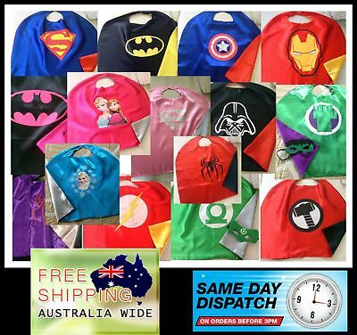 Kids double layer superhero capes / masks 2 sizes to suit 2-12 years 100+ Design