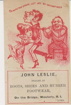 Westerly RI Victorian Trade Card, 1880s, Boots & Shoes, John Leslie