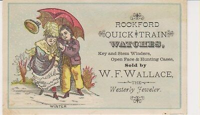 Westerly RI Victorian Trade Card, Rockford Train Watches, W F Wallace