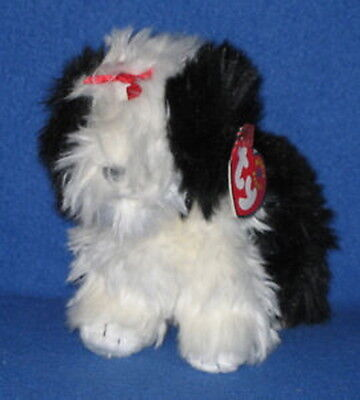 Ty POOFY English Sheepdog Beanie Babies Dog Mint with Tags