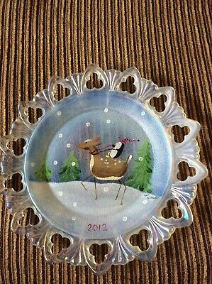 Fenton Hand Painted Limited Reindeer & Penguin Plate Signed by Stacy Williams