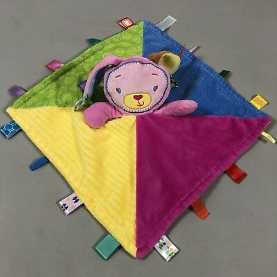 Taggies Baby Security Blanket Colorful Pink Bunny Rabbit