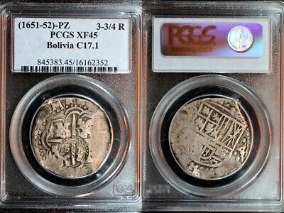 1651-52-PZ Bolivia Countermarked 3-3/4 Reales PCGS XF45 - Krause Plate Coin