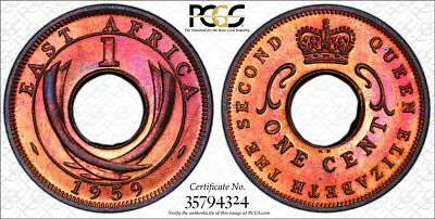 1959-KN East Africa Cent PCGS SP64 RB - Extremely Rare Kings Norton Mint Proof