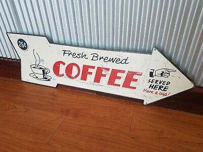 Fresh Brewed Coffee arrow metal tin sign 25c served here bar cafe dinner