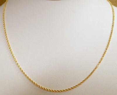 "14K GOLD Diamond Cut Rope Chain Necklace 18"" Long 3.746 GRAMS 1.2mm NEW!"