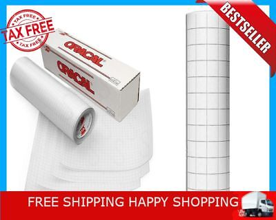 """12"""" X 25' Feet Roll Clear Transfer Tape W/Grid For Adhesive Vinyl Oracal Clear"""