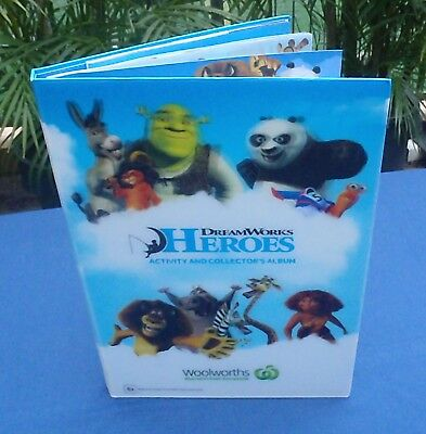 Complete set of 42 Woolworths DreamWorks Heroes Cards in Collector's Album