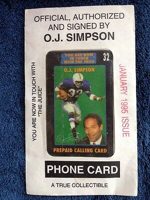 O.J. Simpson Phone Calling Card (1995) sealed in dated envelope (only 2500 made)