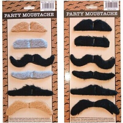 6pcs/sheet Fake Moustaches Funny Fake Beard Whisker Costume Mexican Party