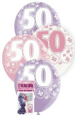 6 Glitz 50th Birthday Decorations Latex Helium Balloons Pink Purple White 80876