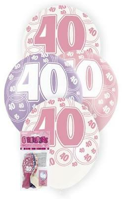 6 Glitz 40th Birthday Decorations Latex Helium Balloons Pink Purple White 80875