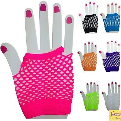 Fishnet Fish Net Finger-less Gloves Colour Dance 70s 80s Party Accessories Punk