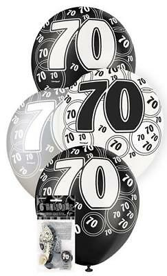 6 Glitz 70th Birthday Decorations Latex Helium Balloons Black Silver White 80899