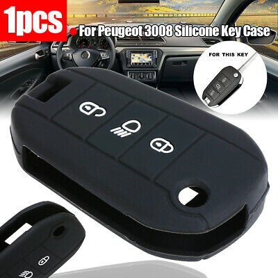 Silicone Key Case Cover For Peugeot 3008 508 308 208 2008 3Button Remote Fob