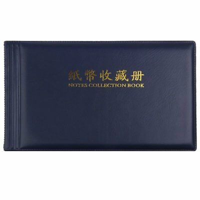 Banknote Currency Collectors Album Pocket Storage 30 Pages Royal blue G6Q5