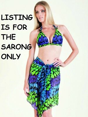 Nwt*  Gottex Empress Israel Silk Sarong/ Pareo/ Cover-Up Small Blue Green Purple