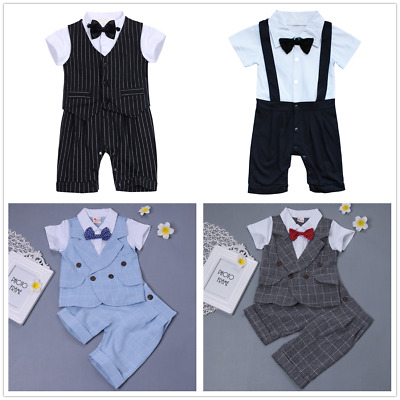 2pcs Baby Boys Gentleman Outfit Formal Party Wedding Bowtie Romper Tuxedo Suit